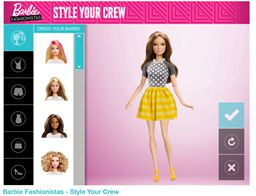 Game featuring Barbie doll