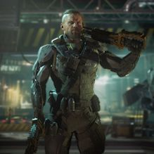 Game image of muscular soldier