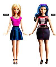 Traditional Barbie next to Curvy Barbie