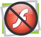 Logo Adobe Flash barré
